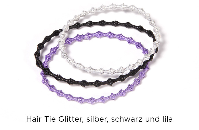 Hair Tie Glitter, im 3er Set in schwarz, lila und silber:  (© © Great Lengths)