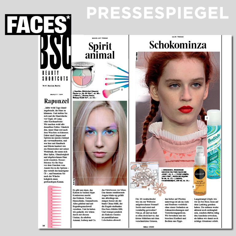 FACES, Shortcuts Beauty, 03/2020 (© Magazin FACES)