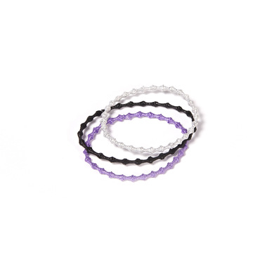 Hair Tie Glitter, im 3er Set in schwarz, lila und silber:  (© Great Lengths)